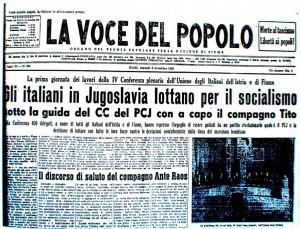 copertina de La Voce del Popolo, 8 novembre 1949