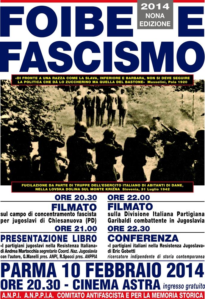 manifesto contromanifestazione foibe 2014