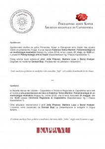 Predstavitev Presentazione Tenca Montini 21.5.2014 Koper Capodistria