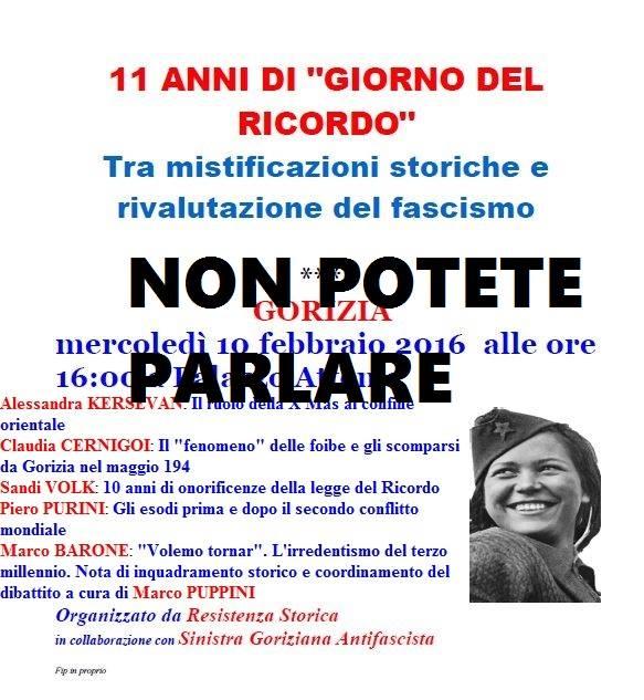 Gorizia 10/02/16, revocata l'autorizzazione per l'iniziativa