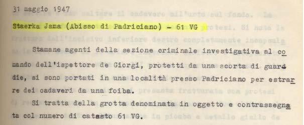 Rapporto dell'ispettore De Giorgi