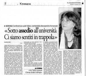 Articolo apparso su Il Gazzettino del 14/2/2013