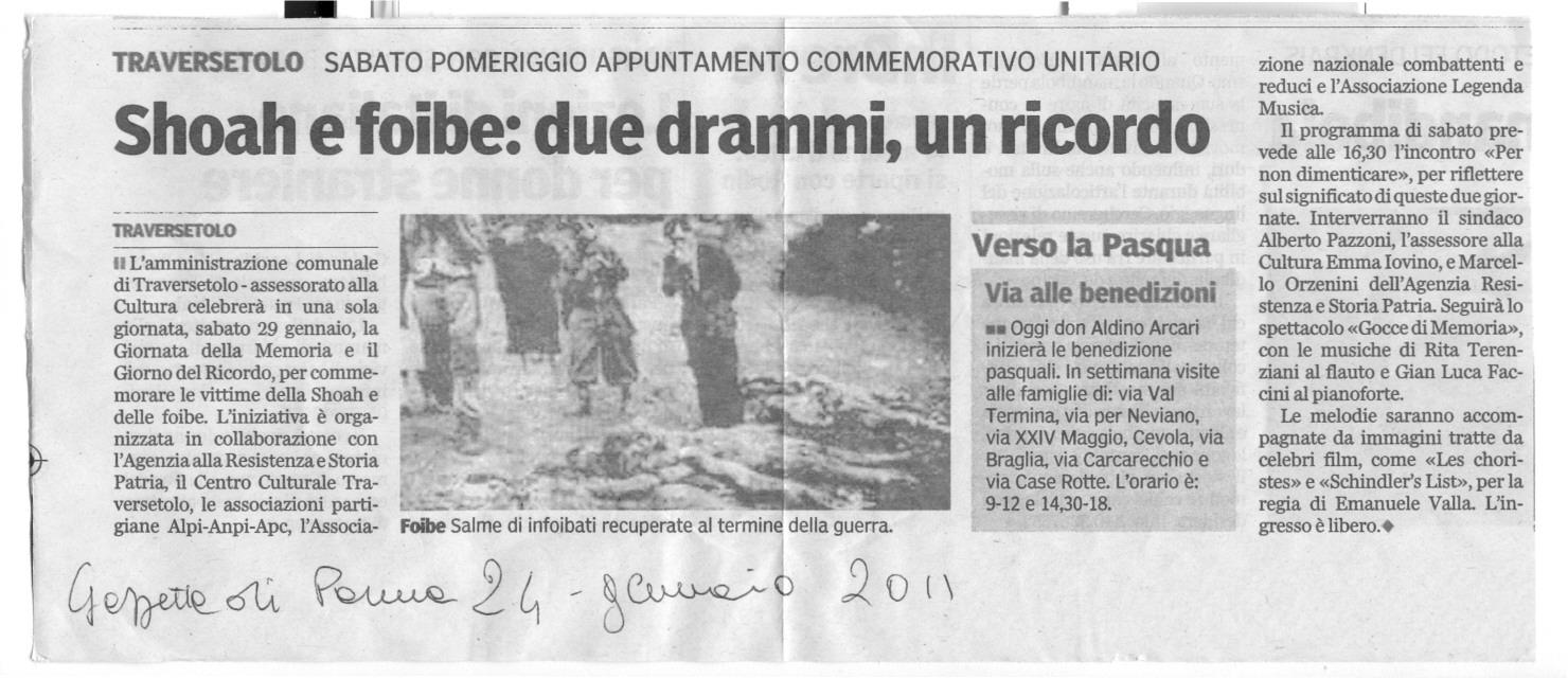 Shoah e foibe oscenamente accostati sulla Gazzetta di Parma